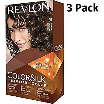 3 X Revlon Colorsilk Ammonia Free Permanent Hair Colour (30 Dark Brown)