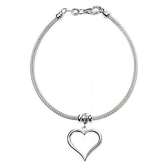 Elements Silver Mesh Chain with Heart Charm Bracelet - Silver