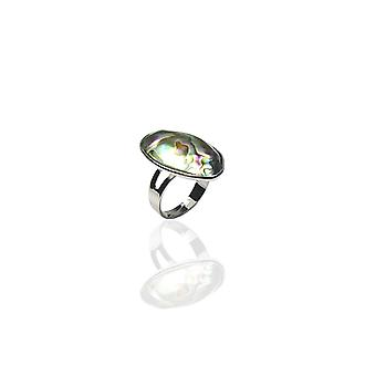 Woman plated adjustable Abalone silver ring