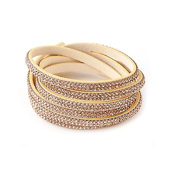 Armband 3 rij kristallen Swarovski elementen en Golden Beige fluweel