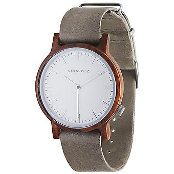 Notched wooden watches mens watch Walter Walnut/concrete grey