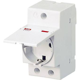 DIN rail mains socket with cover Grey