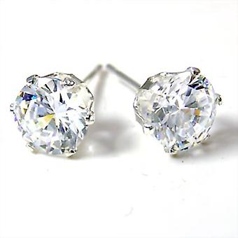 925 Sterling Silber Iced Out Bling Ohrstecker - rund