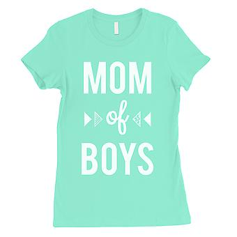 Mom Of Boys Womens Mint T-Shirt Cute Mothers Day Gift Tee Shirt