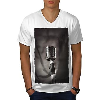 Classic Microphone Men WhiteV-Neck T-shirt | Wellcoda