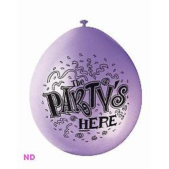 """Balloons THE PARTY'S HERE 9"""" Latex Balloons (10)"""
