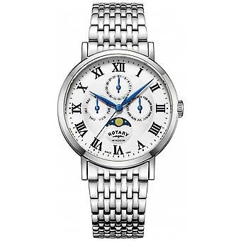 Rotatorio de para hombre de Windsor Moonphase plata tono pulsera GB05325/01