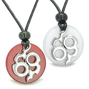Amulette Infinity Beste Freunde Liebe paar Magic Fire Medaillons weiß rot Jade Charms Halsketten