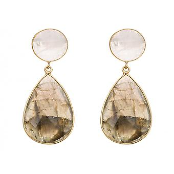 Gemshine - ladies - earrings - gold plated 925 Silver - Labradorite - Moon stone - grey - white - 5 cm