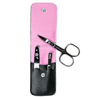 Arrow ring manicure case manicure set manicure set nappa leather black pink lining 3-piece Assembly