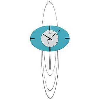 moderne muur klok muur klok/slinger quartz met slinger gelakt hout blauw turkoois