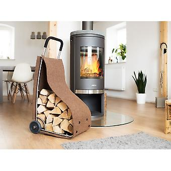 Felt trolley fire wood basket fireplace wood basket for wood storage newspapers utensils in the color Brown