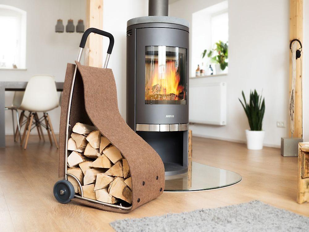 Chariot feutre feu bois cheminée bois panier pour ustensiles de journaux d'entreposage du bois dans la couleur bcourir