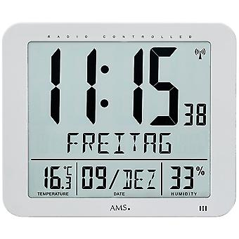 AMS 5884 wall clock clock radio radio controlled wall clock digital date alarm clock thermometer