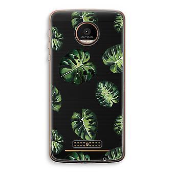 Motorola Moto Z Force Transparent Case (Soft) - Tropical leaves