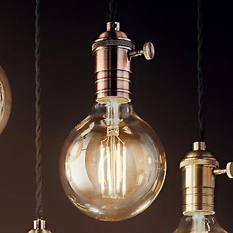Ideal Lux Doc Switched Pendant Light With Black Flex And Antique Copper Metal