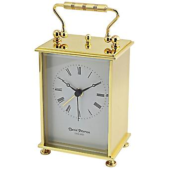 David Peterson flach Messing Quarz Wecker Reiseuhr - Gold