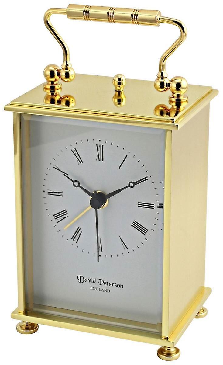 David Peterson Flat Brass Quartz Carriage Alarm Clock - or