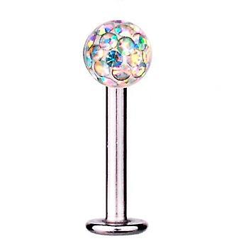 Labret Bar Tragus Piercing Titan 1,2 mm, Multi kristallkula Aurora Borealis
