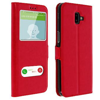 Double window flip standing case for Samsung Galaxy J6 Plus, TPU shell - Red