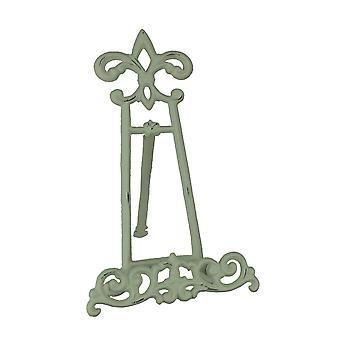 Vintage bianco Cast Iron Fleur De Lis libro Stand