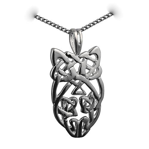 Silver 27x15mm Celtic knot Pendant with a curb chain