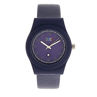 Crayo Dazzle Leather-Band Watch w/Date - Purple