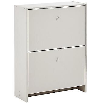 Simple - 2 Pull-down Drawer Hallway 8 Pair Shoe Storage Cabinet - Putty