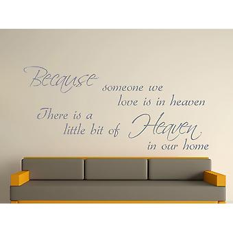 Because Someone Wall Art Sticker - Silver