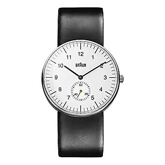 Braun Mens analoge kvarts watch med Lær band BN0024WHBKG