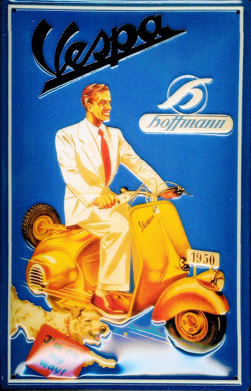 Vespa 1950 Man embossed steel sign  (hi 3020)
