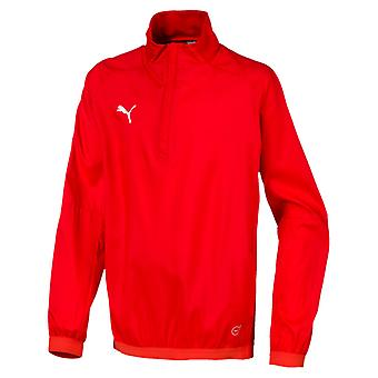 PUMA LIGA Training Windbreaker Jr Kinder Pullover Rot-Weiss