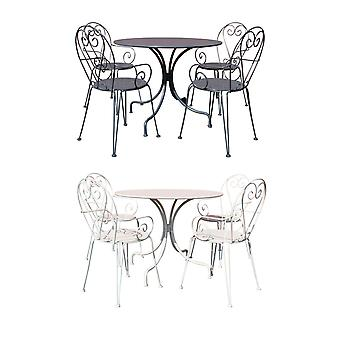 Charles Bentley Garden Möbelpulver Coated Steel Heart 5 Piece Shabby Chic Set-Weather Resistant in Cream & Grey