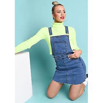 Jeans Latzhose Pinafore Minikleid blau
