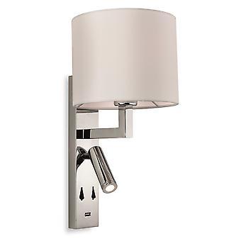 Firstlight-1 ljus inomhus vägg ljus ljus, USB-port krom, grädde skugga-7658CH