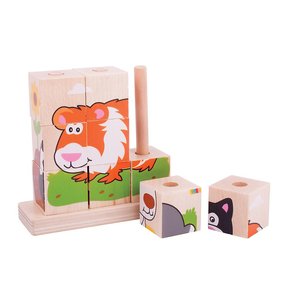 Bigjigs Toys Wooden Stacking Stacker Blocks Tower (Pets) Educational Learn