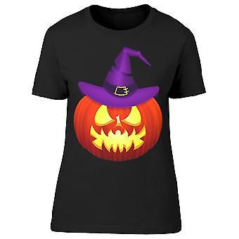 Halloween zucca in un cappello Tee Donne's -Immagine di Shutterstock