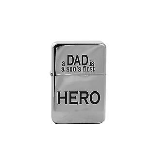 Lighter - a dad is a son's first hero high polish chrome l1
