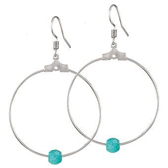 Eternal Collection Stylistic Turquoise Howlite White Gold Tone Drop Hoop Pierced Earrings