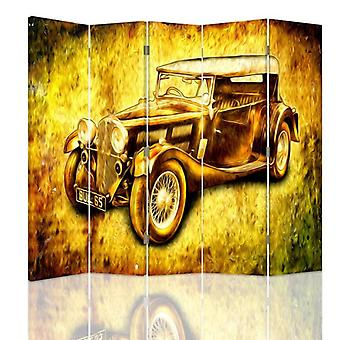 Room Divider, 5 Panels, Double-Sided, 360 ° Rotatable, Canvas, Auto Retro