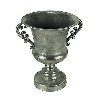 Antique Silver Metal Decorative Urn with Floral Scroll Handles