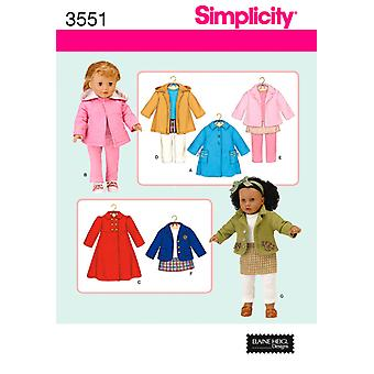 Simplicity 18 Inch Doll Clothes One Size U03551os