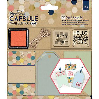 Papermania Geometric Kraft Gift Tags & Stamps Set 16/Pkg- PM105307
