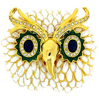 Kenneth Jay Lane émail blanc et cristal Owl Head Broche