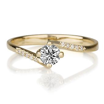 1/2 Carat H VS1 Diamond Engagement Ring 14k Yellow Gold Twist Ring Micro Pave Vintage Ring