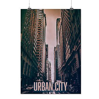 Matte or Glossy Poster with Urban Building Car City Car Street | Wellcoda | *q1419