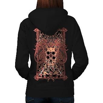 Dungeon Of The Dead Sword Skull Women Black Hoodie Back | Wellcoda
