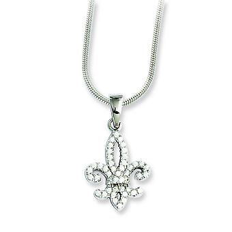 Sterling Silver Pave Rhodium-plated Lobster Claw Closure and Cubic Zirconia Brilliant Embers Fleur De Lis Necklace - 18