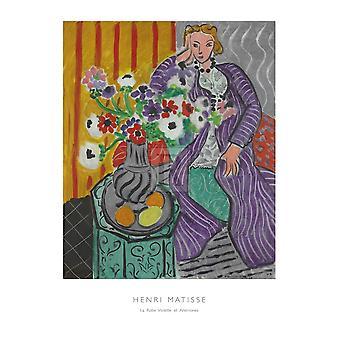 Traje de la Violette et anémonas cartel imprimir por Henri Matisse (24 x 32)