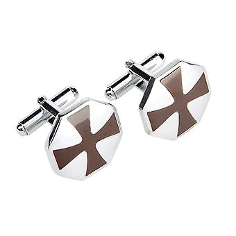Marcell Sanders mens cuff links square cross stainless steel Silver Brown